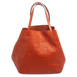 Carolina Herrera Orange Monogram Embossed Leather Matryoshka Tote