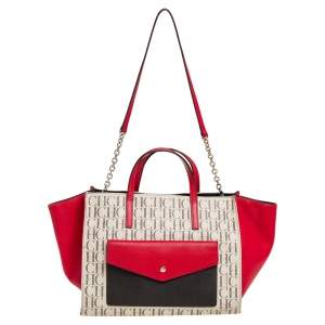 Carolina Herrera Multicolor Coated Canvas and Leather Front Pocket Tote