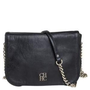 Carolina Herrera Black Leather New Baltazar Flap Shoulder Bag