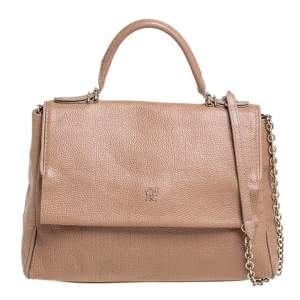 Carolina Herrera Beige Leather Minuetto Top Handle Bag