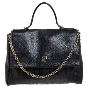 Carolina Herrera Black Monogram Embossed Leather Minuetto Top Handle Bag