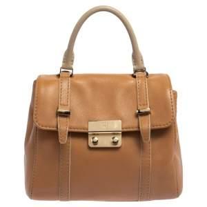 Carolina Herrera Tan Leather Small Top Handle Bag