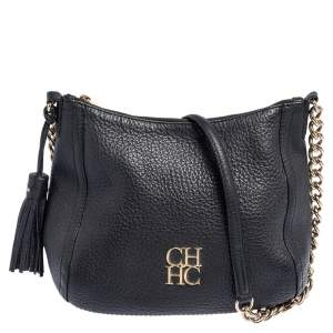 Carolina Herrera Black Leather Chain Tassel Shoulder Bag