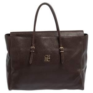 Carolina Herrera Brown Leather Tempo Collection Adagio Tote