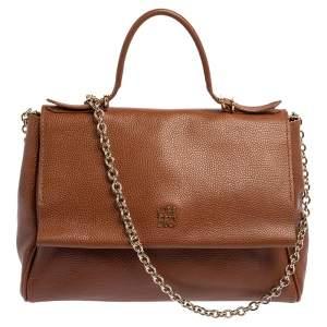 Carolina Herrera Brown Leather Minuetto Top Handle Bag