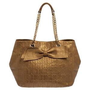 Carolina Herrera Metallic Gold Embossed Monogram Leather Audrey Tote