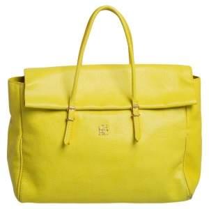 Carolina Herrera Neon Yellow Leather Tempo Collection Adagio Tote