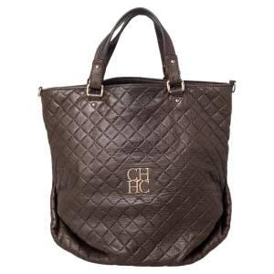 Carolina Herrera Brown Quilted Leather Tote