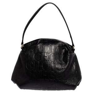 Carolina Herrera Black Monogram Leather Hobo