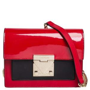 Carolina Herrera Red/Black Patent and Leather Crossbody Bag
