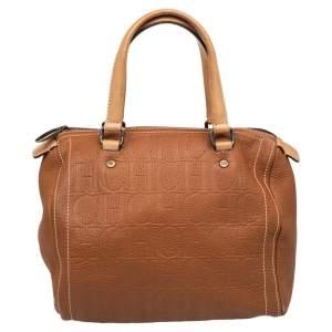 Carolina Herrera Brown Monogram Leather Medium Andy Boston Bag