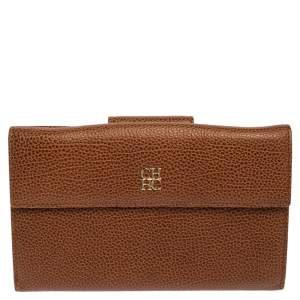 Carolina Herrera Brown Leather Flap Wallet Oragnizer