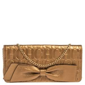 Carolina Herrera Gold Monogram Embossed Leather Bow Chain Clutch
