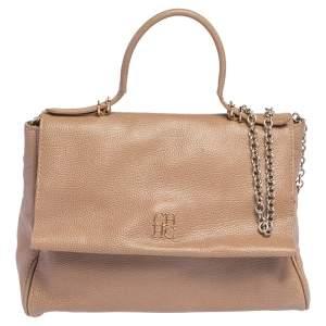 Carolina Herrera Beige Leather Minuetto Flap Top Handle Bag