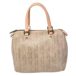 Carolina Herrera Beige Monogram Embossed Leather Andy Boston Bag