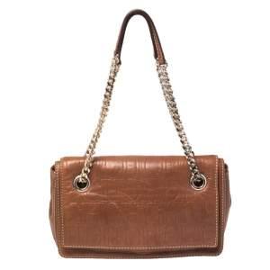 Carolina Herrera Brown Leather Flap Chain Shoulder Bag