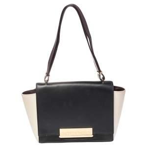 Carolina Herrera Tri Color Leather Logo Metal Flap Shoulder Bag