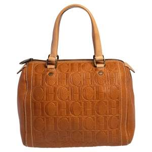 Carolina Herrera Brown Monogram Embossed Leather Andy Boston Bag