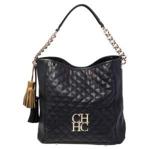 Carolina Herrera Black Quilted Leather Tassel Chain Hobo