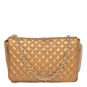 Carolina Herrera Metallic Gold Quilted Leather Chain Flap Shoulder Bag