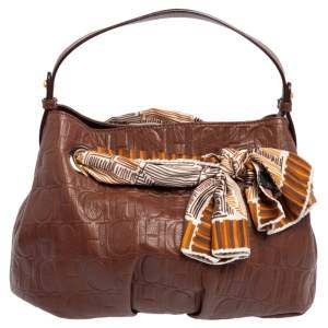 Carolina Herrera Brown Monogram Embossed Leather Scarf Hobo