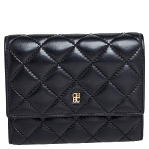 Carolina Herrera Black Quilted Leather Trifold Wallet