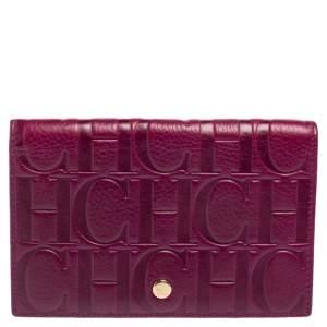 Carolina Herrera Purple Monogram Embossed Leather Bifold Wallet Organizer