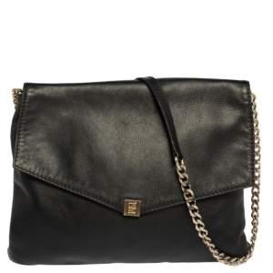 Carolina Herrera Black Leather Envelope Flap Shoulder Bag