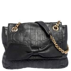 Carolina Herrera Black Embossed Leather Bow Flap Shoulder Bag