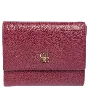Carolina Herrera Burgundy Grained Leather Trifold Wallet
