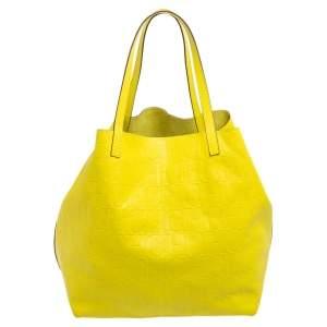 Carolina Herrera Neon Yellow Embossed Leather Matryoshka Tote