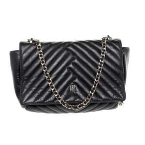 Carolina Herrera Black Quilted Leather Flap Shoulder Bag
