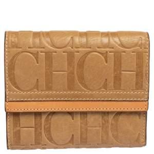 Carolina Herrera Beige Monogram Leather Trifold Wallet