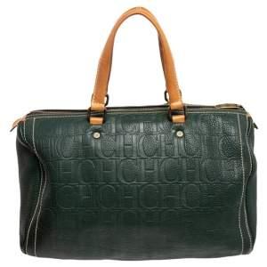 Carolina Herrera Green Monogram Leather Large Andy Boston Bag