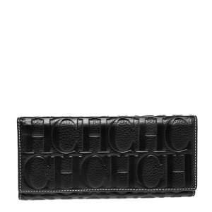 Carolina Herrera Black Monogram Embossed Leather Trifold Continental Wallet