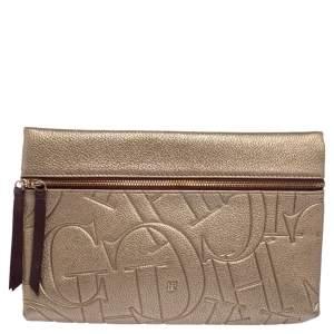 Carolina Herrera Metallic Embossed Monogram Leather Crossbody Bag