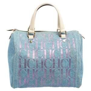 Carolina Herrera Blue Monogram Denim And Leather Andy Boston Bag