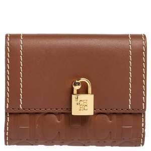 Carolina Herrera Tan Monogram Leather Matryoshka Lock Compact Wallet