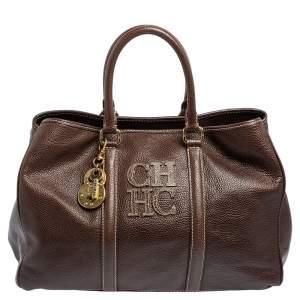 Carolina Herrera Brown Leather Large Matteo Tote
