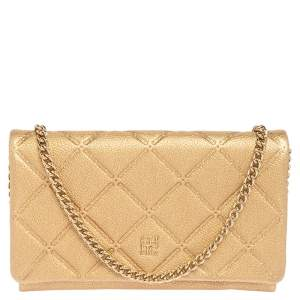 Carolina Herrera Gold Quilted Embossed Leather Flap Chain Clutch