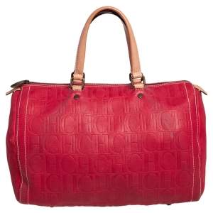 Carolina Herrera Red Monogram Leather Large Andy Boston Bag