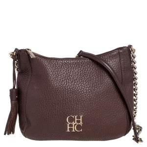 Carolina Herrera Dark Brown Leather Tassel Chain Shoulder Bag