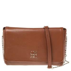 Carolina Herrera Brown Leather New Baltazar Shoulder Bag