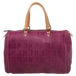 Carolina Herrera Pink Monogram Leather Large Andy Boston Bag