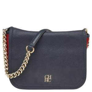 Carolina Herrera Black/Red Leather And Suede Shoulder Bag