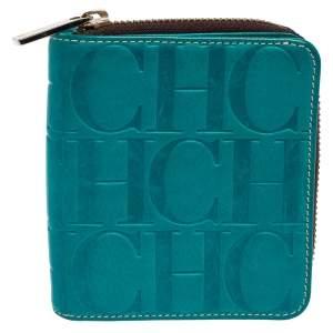 Carolina Herrera Turquoise Blue Monogram Embossed Leather Compact Wallet