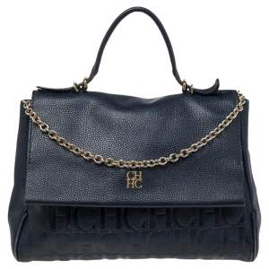 Carolina Herrera Navy Blue Monogram Embossed Leather Minuetto Top Handle Bag