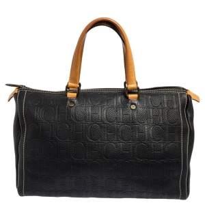 Carolina Herrera Dark Blue Monogram Leather Large Andy Boston Bag