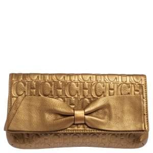 Carolina Herrera Gold Monogram Embossed Leather Bow Flap Clutch