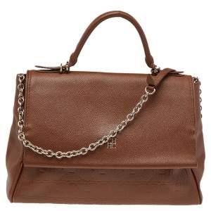 Carolina Herrera Brown Embossed Monogram Leather Minuetto Flap Top Handle Bag